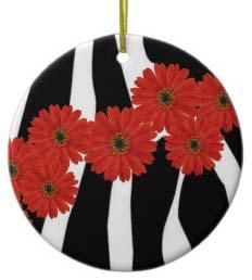Zebra Print Christmas Ornaments
