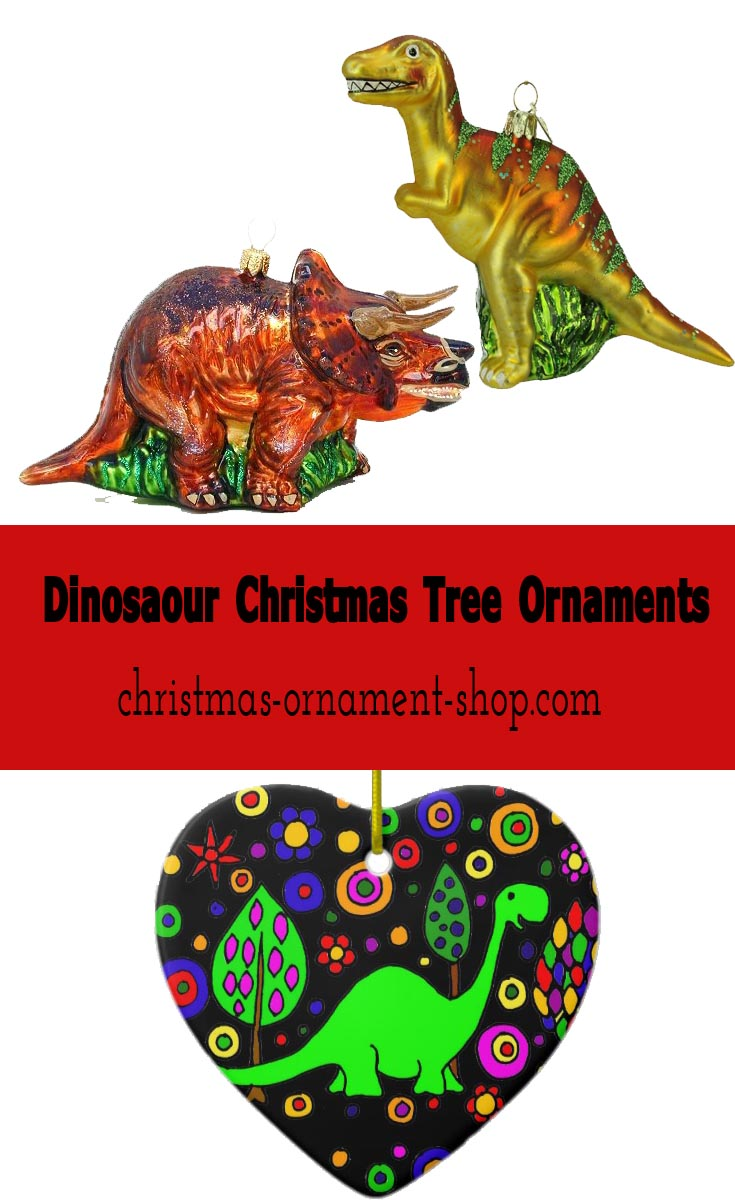 Little kids love dinosaurs and they'll love dinosaur Christmas tree ornaments!
